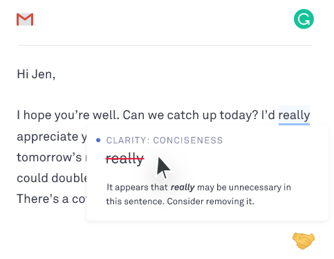 grammarly screenshot example