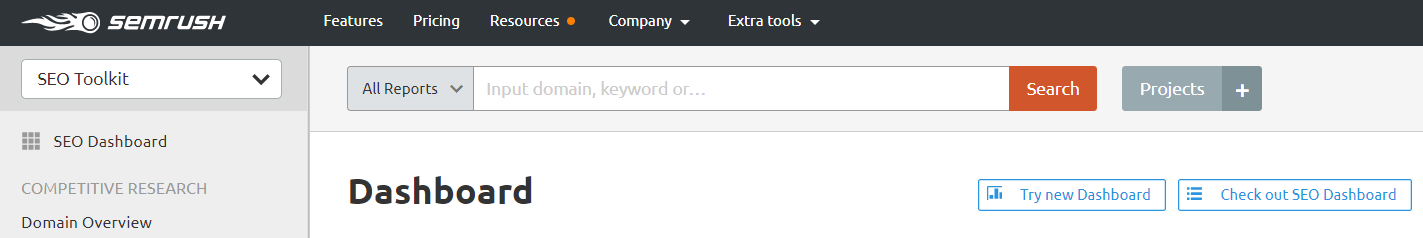 semrush search bar